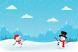 Christmas Greeting Card with snowman.-Vector illustration.