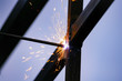 Electrode welding of metal structures. bright sparks.
