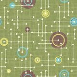 Seamless 1950s retro pattern of lines and circles for fabric design, wrapping paper, backgrounds. Vector illustration.