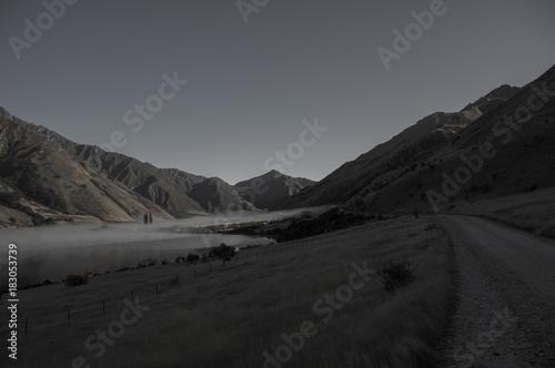 Staande foto Grijze traf. Morning fog, Lake Moke in Newzealand