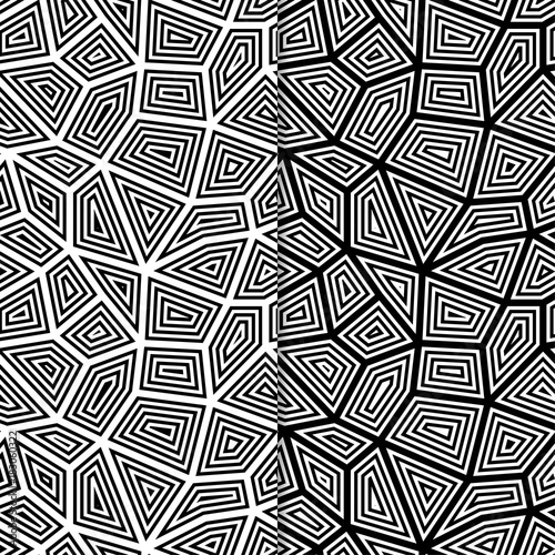 Polygonal black and white backgrounds. Seamless patterns