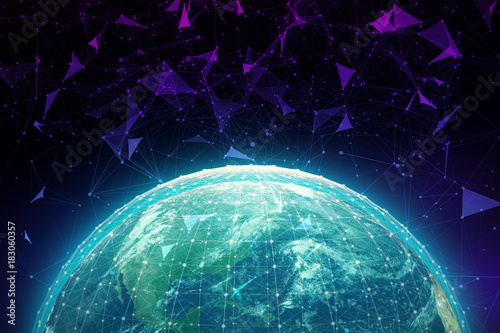 Tuinposter Nasa Global business concept