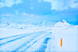A  road during a snowstorm, Snaefellsnes Peninsula, Iceland. - 183061129