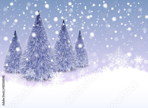 Christmas background with snowflakes and winter christmas trees