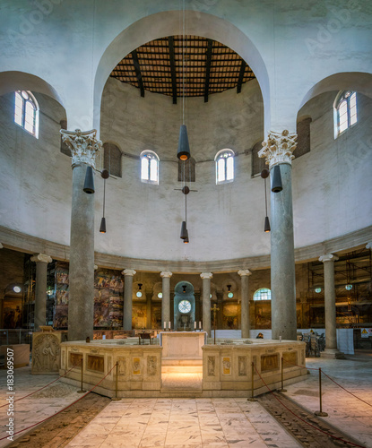 Basilica of Saint Stephen in the Round on the Celian Hill in Rome, Italy.