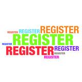 Register word typography artwork design - 183070158