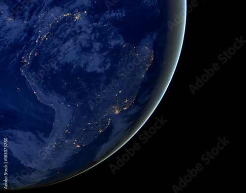 Papiers peints Nasa South America lights during night as it looks like from space. Elements of this image are furnished by NASA