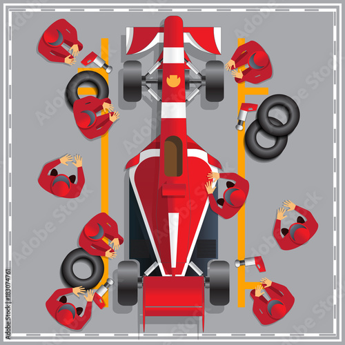 Tuinposter F1 Maintenance of a racing car. View from above. Vector illustration.
