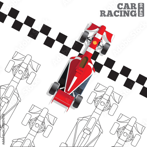 Plexiglas F1 Racing cars at the finish line. View from above. Vector illustration.
