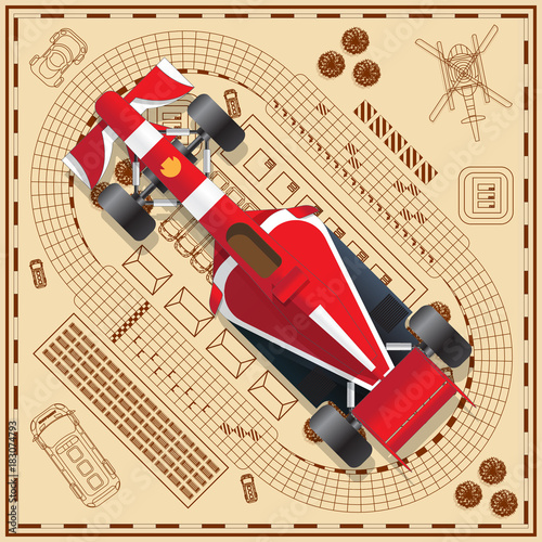 Fotobehang F1 Race car on the background tracks. View from above. Vector illustration.