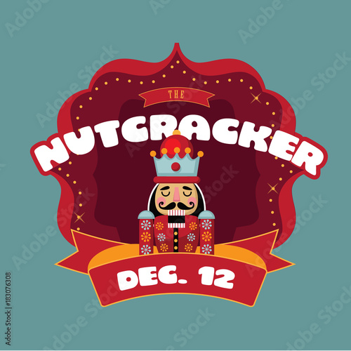 Aluminium Vintage Poster Christmas nutcracker retro marquee. Wooden soldier toy gift from the ballet. EPS 10 vector illustration.