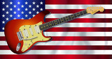 Old Glory Flag With Electric Guitar - 183077531