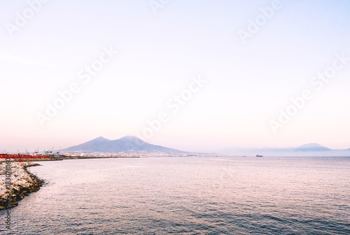 Foto op Aluminium Napels View of Naples city gulf sea and port with Vesuvius in the background - Napoli, Campania, Italia