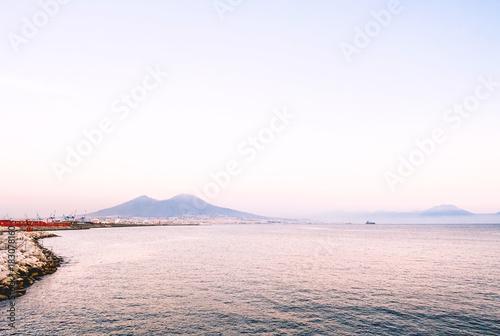 Foto op Canvas Napels View of Naples city gulf sea and port with Vesuvius in the background - Napoli, Campania, Italia