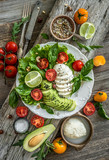 Vegetarian salad with mozzarella and avocado - 183078973