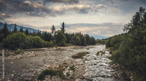 Foto op Canvas Grijs Bela River with Krivan Peak in Background in Slovakia