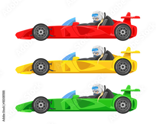 Tuinposter F1 Set of colorful fast motor racing cars, formula 1 (one), bolides sport racing car flat vector icons isolated on white background. Speed motor drive. View side. Vector illustration