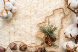 Christmas decorations, knitted scarfs and cotton - 183082952