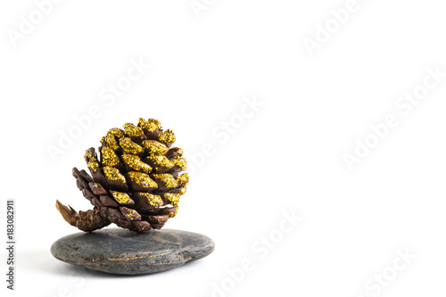 Deurstickers Vlinder Pine cone on stones balancing isolated on white background