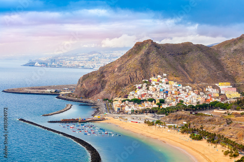 Papiers peints Iles Canaries Aerial view over Las Teresitas beach and Santa Cruz cityscape in summer holiday, in Tenerife - Canary island of Spain