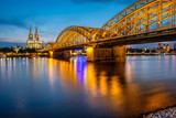 Cologne Cathedral and Hohenzollern Bridge at night, Germany - 183099187