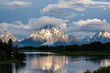 Quadro Mountains in Grand Teton National Park at morning. Oxbow Bend on the Snake River.