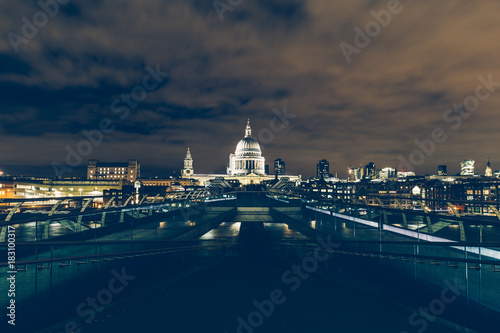 Foto op Canvas Londen London exposure of London skyline with Millennium Bridge and St Paul's Cathedral