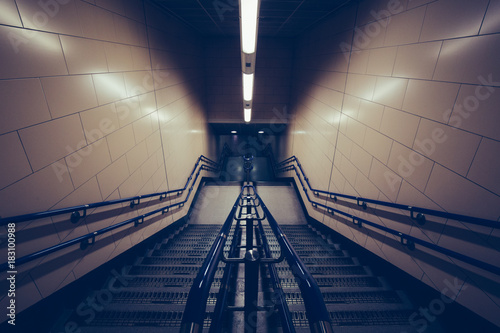 Poster London Moody staircase in dark tunnel on London Underground tube train station