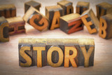 story word abstract in wood type - 183102710