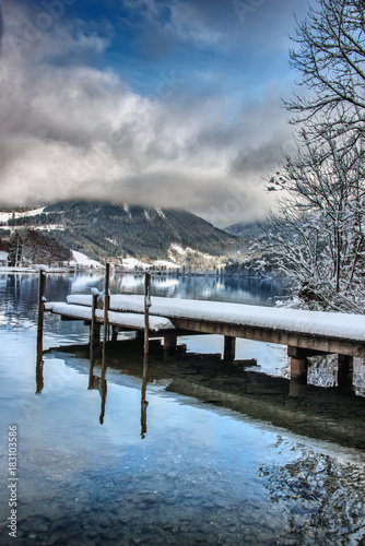 Foto op Canvas Bergen Winterzauber am Lunzersee
