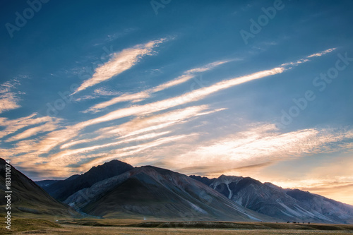 Tuinposter Herfst Highland pasture. Morning in the mountain. Mountain landscapes of Kyrgyzstan. Burkan River Valley.