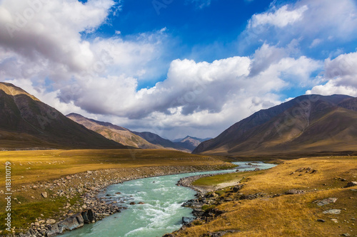 Foto op Canvas Herfst Mountain landscapes of Kyrgyzstan. Burkan River Valley.
