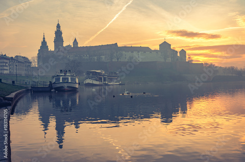 Krakow, Poland, Wawel Castle and Wawel cathedral in the morning over Vistula river