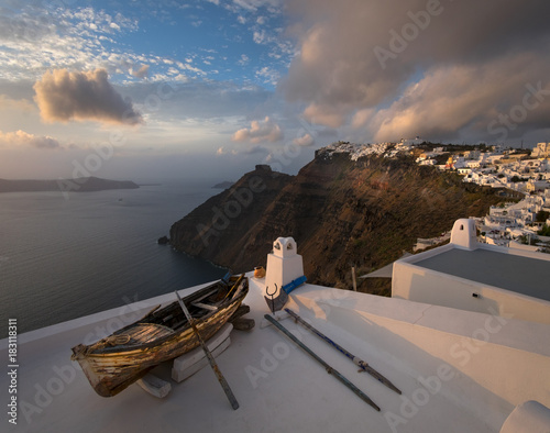 Staande foto Santorini Evening on the island of Santorini. Fira. Greece.