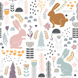 Seamless pattern with bunny, floral elements, branches. Creative woodland height detailed background. Perfect for kids apparel,fabric, textile, nursery decoration,wrapping paper.Vector Illustration - 183125144