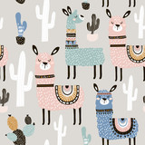 Seamless pattern with llama, cactus and hand drawn elements. Creative childish texture. Great for fabric, textile Vector Illustration - 183125150