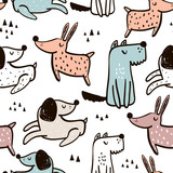 Childish seamless pattern with hand drawn dogs. Trendy scandinavian vector background. Perfect for kids apparel,fabric, textile, nursery decoration,wrapping paper - 183125154