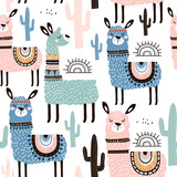 Seamless pattern with llama, cactus and hand drawn elements. Creative childish texture. Great for fabric, textile Vector Illustration - 183125163