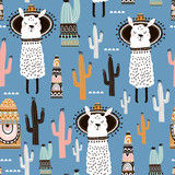Seamless pattern with llama, cactus and hand drawn elements. Creative childish texture. Great for fabric, textile Vector Illustration - 183125174
