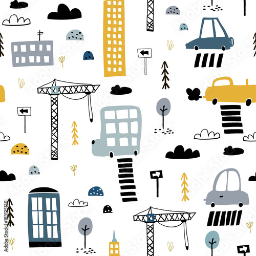 Seamless pattern with hand drawn city print. Cartoon skyscraper, cars, road sign,zebra crossing vector illustration.Perfect for kids fabric,textile,nursery wallpaper - 183125130