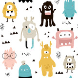 Childish seamless pattern with cute monsters. Trendy scandinavian vector background. Perfect for kids apparel,fabric, textile, nursery decoration,wrapping paper - 183125306