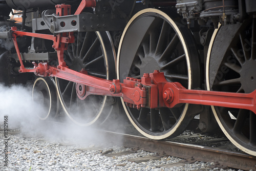 Close-up of old steam locomotive wheels, now tourist attraction © Jaboticaba Fotos