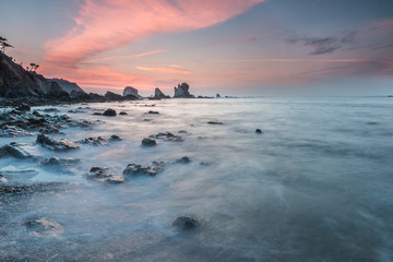 spectacular sunset on the coast of Galicia