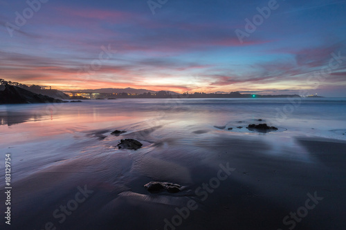 Fotobehang Strand spectacular sunset on the coast of Galicia