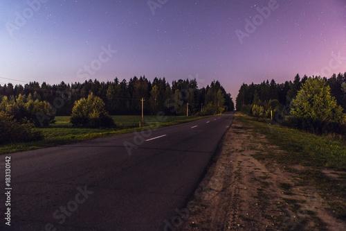 Staande foto Lavendel Night landscape on a full moon.