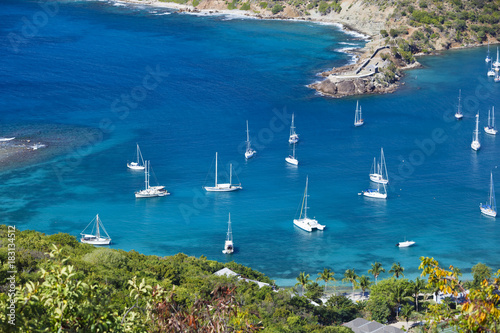 Sailboats At English Harbor In Antigua Poster