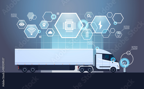 Set Of Infographic Elements With Modern Semi Truck Trailer Charging At Electic Charger Station Vector Illustration