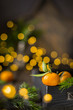 Christmas  tangerine mood!) Fresh tangerines on a wooden vintage background with lights. The best celebration background. Winter xmas holidays concept. - 183146312