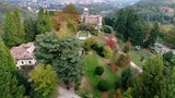 Aerial view of Villa Toeplitz with autumn park in Varese, Italy - 183147396