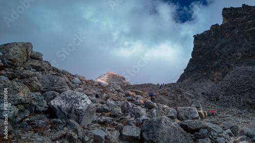 Fotobehang Grijze traf. Mount the summit
